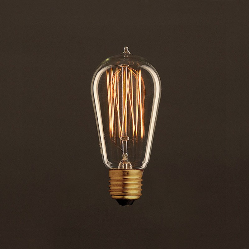 Ampoule Vintage Dorée Edison ST58 Filament Carbone en cage 25W E27 Dimmable 2000K
