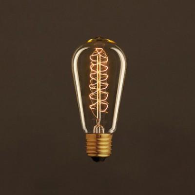 Ampoule Vintage Dorée Edison ST58 Filament Carbone a double spirale 25W E27 Dimmable 2000K