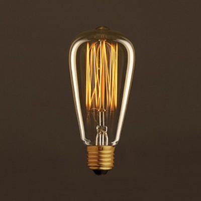 Lampadina Vintage Dorata Edison ST64 Filamento di Carbonio a Gabbia 25W E27 Dimmerabile 2000K