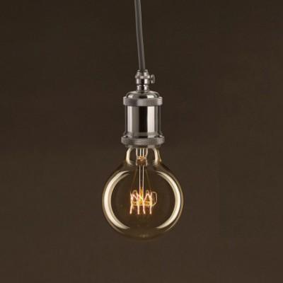 Ampoule Vintage Dorée Globe G80 Filament Carbone courbe avec spirale 25W E27 Dimmable 2000K