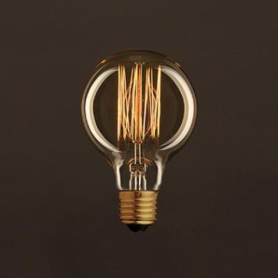 Ampoule Vintage Dorée Globe G80 Filament Carbone en cage 25W E27 Dimmable 2000K