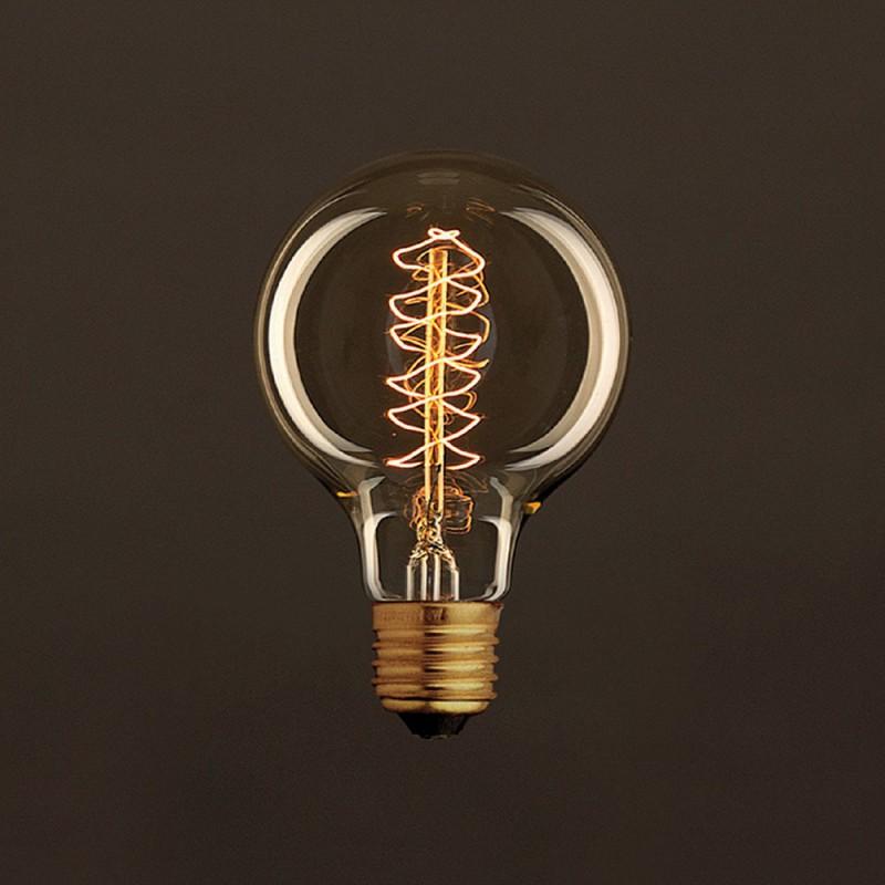 Ampoule Vintage Dorée Globe G80 Filament Carbone a double spirale 25W E27 Dimmable 2000K