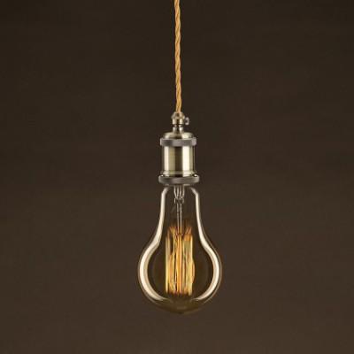 Ampoule Vintage Dorée Goutte A95 Filament Carbone en cage 25W E27 Dimmable 2000K