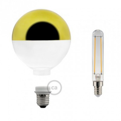 Lampadina Decorativa Componibile LED G125 con vetro semisfera oro 5W E27 Dimmerabile 2700K