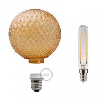 Lampadina Decorativa Componibile LED G125 con vetro gioiello fumè 5W E27 Dimmerabile 2700K