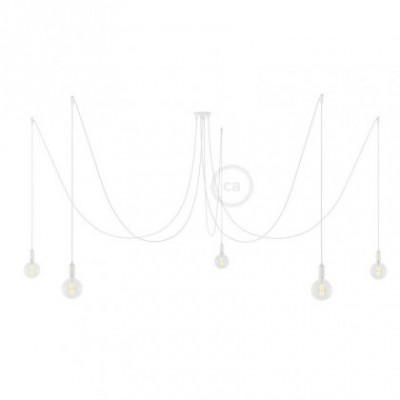 Spider, supension multiple avec 5 pendants, métal blanc, câble blanc RM01, Made in Italy