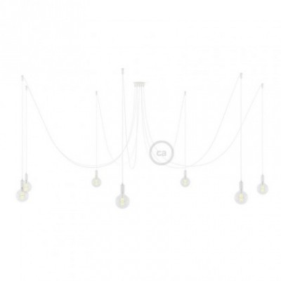 Spider, supension multiple avec 7 pendants, métal blanc, câble blanc RM01, Made in Italy