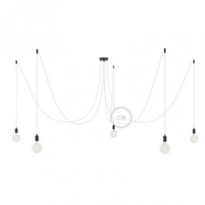 Spider, supension multiple avec 5 pendants, métal noir, câble blanc RM01, Made in Italy