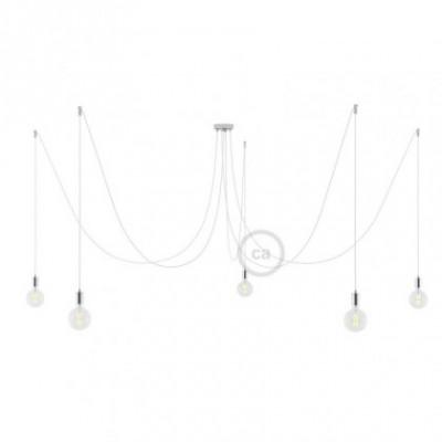 Spider, supension multiple avec 5 pendants, métal chromé, câble blanc RM01, Made in Italy