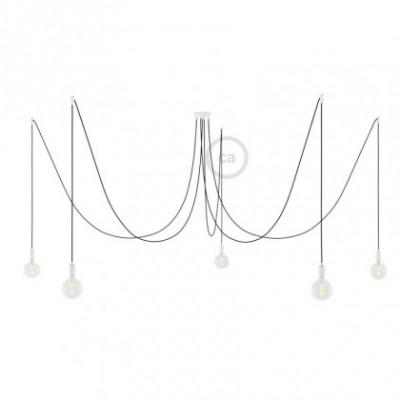 Spider, supension multiple avec 5 pendants, métal blanc, câble noir RM04, Made in Italy