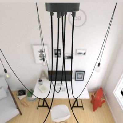 Spider, supension multiple avec 5 pendants, métal noir, câble noir RM04, Made in Italy