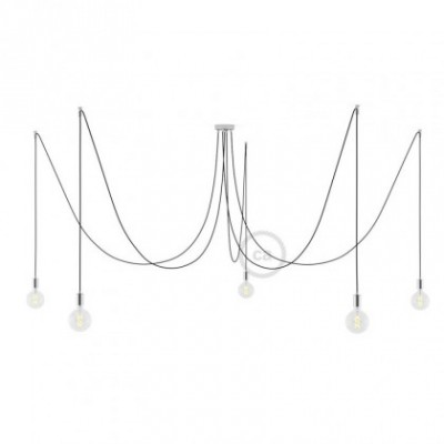 Spider, supension multiple avec 5 pendants, métal chromé, câble noir RM04, Made in Italy