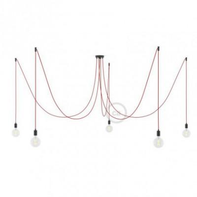 Spider, supension multiple avec 5 pendants, métal noir, câble rouge RM09, Made in Italy