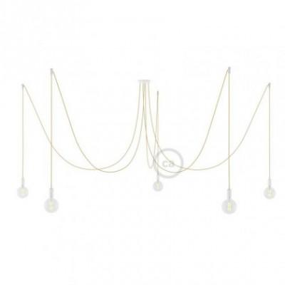 Deckenleuchte Spider metall weiß, 5 Ausgänge, mit Kabel RN06 Jute. Made in Italy.