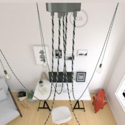 Spider, supension multiple avec 5 pendants, métal noir perlé, câble Orleans TG07, Made in Italy