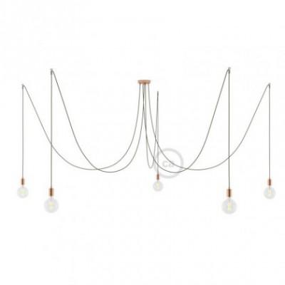 Spider, supension multiple avec 5 pendants, métal cuivré, câble uni vert gris RC63, Made in Italy