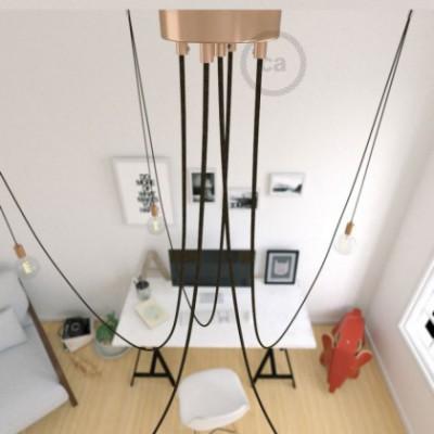 Spider, supension multiple avec 5 pendants, métal cuivré, câble lin naturel marron RN04, Made in Italy