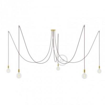 Spider, supension multiple avec 5 pendants, métal laiton, câble soie bordeaux RM19, Made in Italy