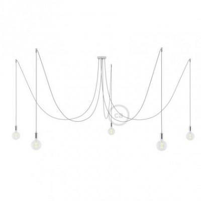 Spider, supension multiple avec 5 pendants, métal chromé, câble soie argent RL02, Made in Italy