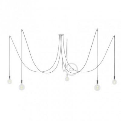 Spider, supension multiple avec 5 pendants, métal chromé, câble onyx pailleté RS81, Made in Italy