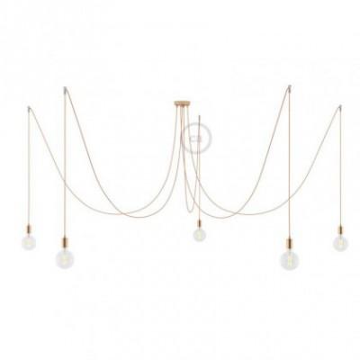 Spider, supension multiple avec 5 pendants, métal cuivré, câble métal cuivre RR11, Made in Italy