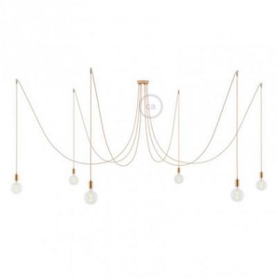 Spider, supension multiple avec 6 pendants, métal cuivré, câble métal cuivre RR11, Made in Italy