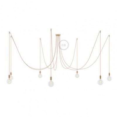 Spider, supension multiple avec 7 pendants, métal cuivré, câble métal cuivre RR11, Made in Italy
