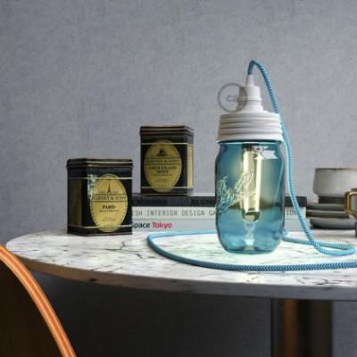 Kit Beleuchtung Einmachglas in metall weiß, mit konischer Zugentlastung und E14 Lampenfassung in bakelit weiß