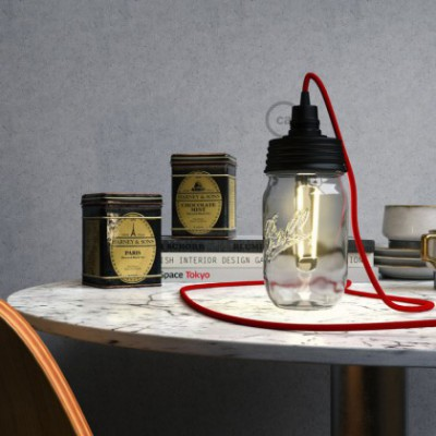 Kit illuminazione barattolo di vetro in metallo Nero, con serracavo conico e portalampada E14 in bakelite Nero