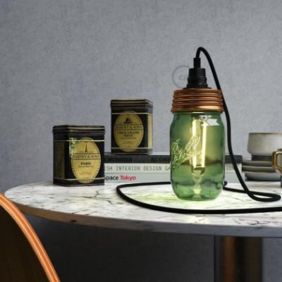 Kit Beleuchtung Einmachglas in metall bronziert, mit zylindrischer Zugentlastung und E14 Lampenfassung bakelit schwarz