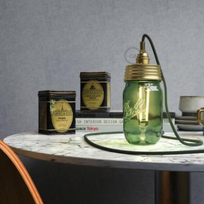 Kit illuminazione barattolo di vetro in metallo Dorato, con serracavo cilindrico e portalampada E14 in metallo Ottonato