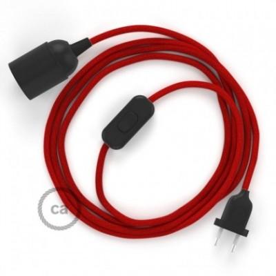 SnakeBis Leuchten-Zuleitung mit Textilkabel Feuerrot Baumwolle RC35