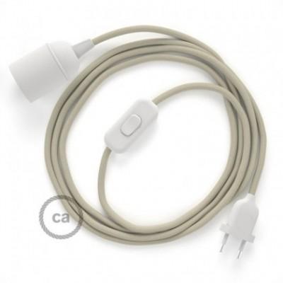 SnakeBis cablaggio con portalampada cavo tessile Cotone Tortora RC43