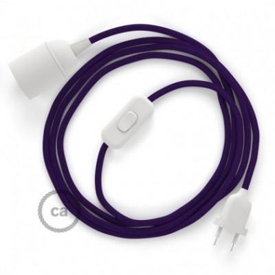 SnakeBis cablaggio con portalampada cavo tessile Effetto Seta Viola RM14