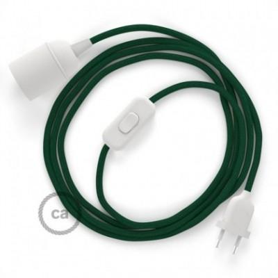 SnakeBis cablaggio con portalampada cavo tessile Effetto Seta Verde scuro RM21
