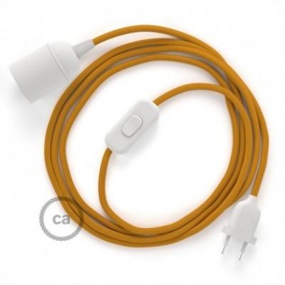 SnakeBis cordon avec douille et câble textile Effet Soie Moutarde RM25