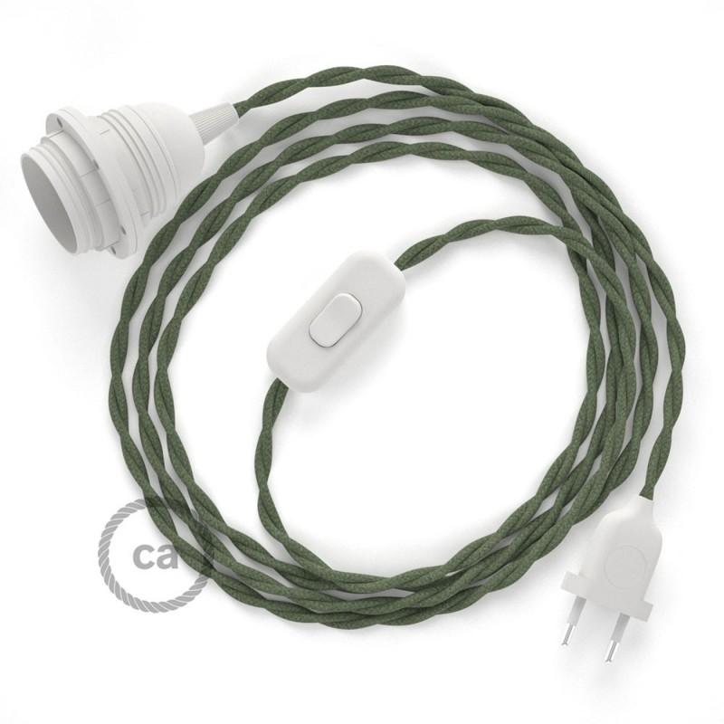 SnakeBis cordon avec douille et câble textile Coton Gris Vert TC63