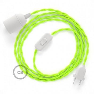 SnakeBis cordon avec douille et câble textile Jaune Fluo TF10