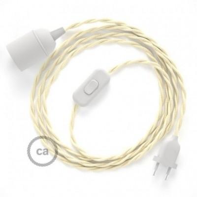 SnakeBis cordon avec douille et câble textile Effet Soie Ivoire TM00