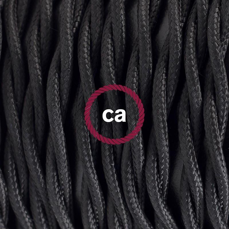 SnakeBis cordon avec douille et câble textile Effet Soie Noir TM04