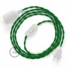 SnakeBis cordon avec douille et câble textile Effet Soie Vert TM06