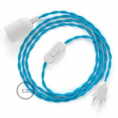 SnakeBis cordon avec douille et câble textile Effet Soie Turquoise TM11