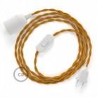 SnakeBis cordon avec douille et câble textile Effet Soie Moutarde TM25