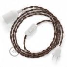 SnakeBis cordon avec douille et câble textile Effet Soie Noir e Whiskey TZ22