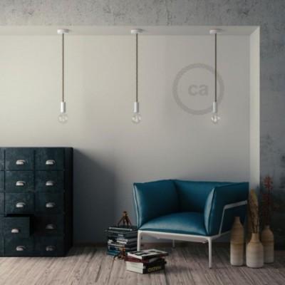 Lampe suspension en bois peint en blanc avec corde XL en lin naturel 16 mm, Made in Italy