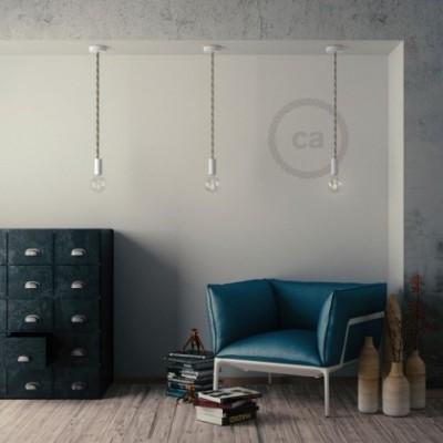 Hängelampe Tauseil XL natürliche Leinen und Baumwolle rau 16 mm mit weiß Holzbaldachin und Fassung. Made in Italy.