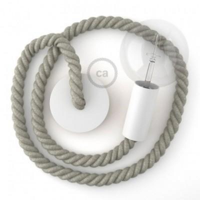 Lampe suspension en bois peint en blanc avec corde 2XL en lin naturel 24 mm, Made in Italy