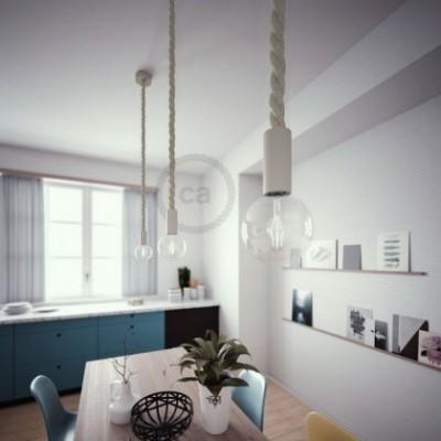Lampe suspension en bois peint en blanc avec corde 3XL en lin naturel 30 mm, Made in Italy
