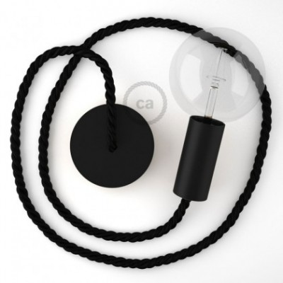 Lampe suspension en bois peint en noir avec corde XL en tissu noir brillant 16 mm, Made in Italy