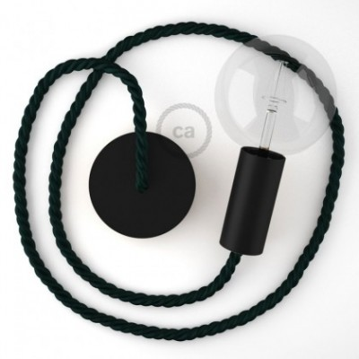 Lampe suspension en bois peint en noir avec corde XL en tissu vert foncé brillant 16 mm, Made in Italy
